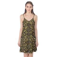 Damask2 Black Marble & Gold Foil (r) Camis Nightgown