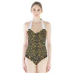 Damask2 Black Marble & Gold Foil (r) Halter Swimsuit
