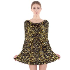 Damask2 Black Marble & Gold Foil (r) Long Sleeve Velvet Skater Dress