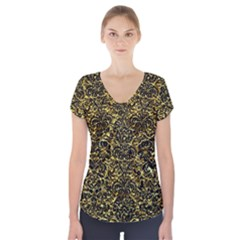Damask2 Black Marble & Gold Foil (r) Short Sleeve Front Detail Top