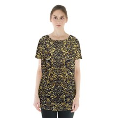 Damask2 Black Marble & Gold Foil (r) Skirt Hem Sports Top