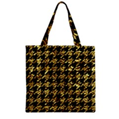 Houndstooth1 Black Marble & Gold Foil Zipper Grocery Tote Bag