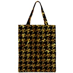 Houndstooth1 Black Marble & Gold Foil Zipper Classic Tote Bag