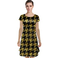 Houndstooth1 Black Marble & Gold Foil Cap Sleeve Nightdress
