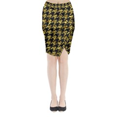 Houndstooth1 Black Marble & Gold Foil Midi Wrap Pencil Skirt