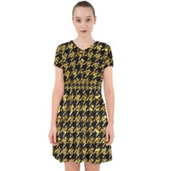 Houndstooth1 Black Marble & Gold Foil Adorable In Chiffon Dress