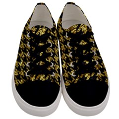 Houndstooth1 Black Marble & Gold Foil Men s Low Top Canvas Sneakers