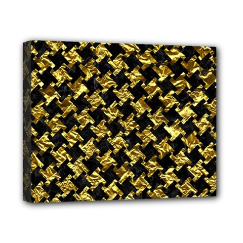 Houndstooth2 Black Marble & Gold Foil Canvas 10  X 8