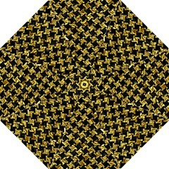 Houndstooth2 Black Marble & Gold Foil Hook Handle Umbrellas (large)