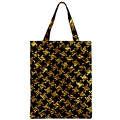 Houndstooth2 Black Marble & Gold Foil Zipper Classic Tote Bag
