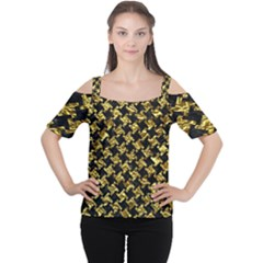 Houndstooth2 Black Marble & Gold Foil Cutout Shoulder Tee