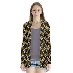 Houndstooth2 Black Marble & Gold Foil Drape Collar Cardigan
