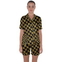 Houndstooth2 Black Marble & Gold Foil Satin Short Sleeve Pyjamas Set
