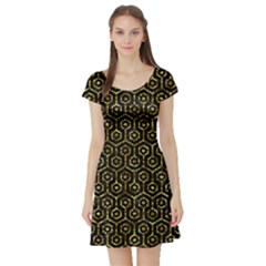 Hexagon1 Black Marble & Gold Foil Short Sleeve Skater Dress