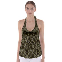Hexagon1 Black Marble & Gold Foil Babydoll Tankini Top
