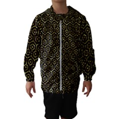 Hexagon1 Black Marble & Gold Foil Hooded Wind Breaker (kids)