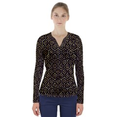 Hexagon1 Black Marble & Gold Foil V Neck Long Sleeve Top