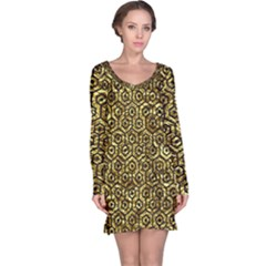 Hexagon1 Black Marble & Gold Foil (r) Long Sleeve Nightdress