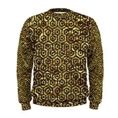 Hexagon1 Black Marble & Gold Foil (r) Men s Sweatshirt