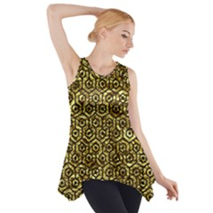 Hexagon1 Black Marble & Gold Foil (r) Side Drop Tank Tunic
