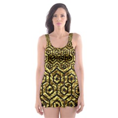 Hexagon1 Black Marble & Gold Foil (r) Skater Dress Swimsuit