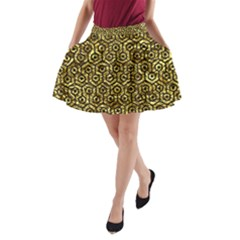 Hexagon1 Black Marble & Gold Foil (r) A Line Pocket Skirt