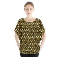 Hexagon1 Black Marble & Gold Foil (r) Blouse