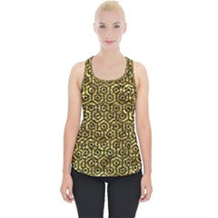 Hexagon1 Black Marble & Gold Foil (r) Piece Up Tank Top