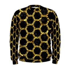 Hexagon2 Black Marble & Gold Foil Men s Sweatshirt