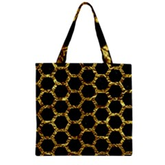 Hexagon2 Black Marble & Gold Foil Zipper Grocery Tote Bag