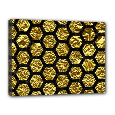 Hexagon2 Black Marble & Gold Foil (r) Canvas 16  X 12