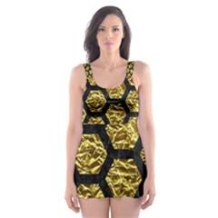 Hexagon2 Black Marble & Gold Foil (r) Skater Dress Swimsuit