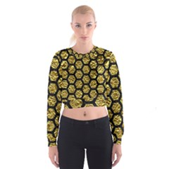 Hexagon2 Black Marble & Gold Foil (r) Cropped Sweatshirt