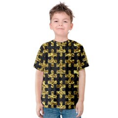 Puzzle1 Black Marble & Gold Foil Kids  Cotton Tee