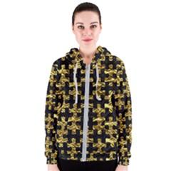 Puzzle1 Black Marble & Gold Foil Women s Zipper Hoodie