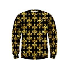 Puzzle1 Black Marble & Gold Foil Kids  Sweatshirt