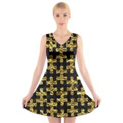 Puzzle1 Black Marble & Gold Foil V Neck Sleeveless Skater Dress