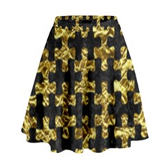 Puzzle1 Black Marble & Gold Foil High Waist Skirt