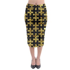 Puzzle1 Black Marble & Gold Foil Midi Pencil Skirt