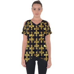Puzzle1 Black Marble & Gold Foil Cut Out Side Drop Tee