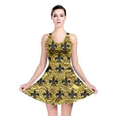 Royal1 Black Marble & Gold Foil Reversible Skater Dress