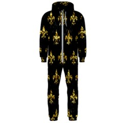 Royal1 Black Marble & Gold Foil (r) Hooded Jumpsuit (men)
