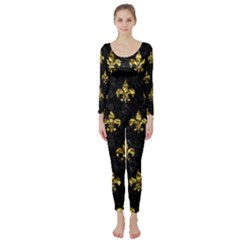 Royal1 Black Marble & Gold Foil (r) Long Sleeve Catsuit