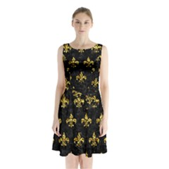 Royal1 Black Marble & Gold Foil (r) Sleeveless Waist Tie Chiffon Dress