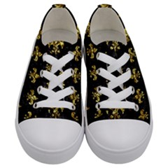 Royal1 Black Marble & Gold Foil (r) Kids  Low Top Canvas Sneakers