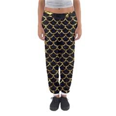 Scales1 Black Marble & Gold Foil Women s Jogger Sweatpants