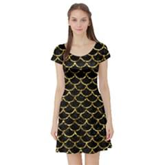 Scales1 Black Marble & Gold Foil Short Sleeve Skater Dress