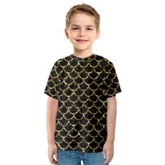Scales1 Black Marble & Gold Foil Kids  Sport Mesh Tee