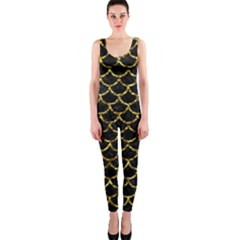 Scales1 Black Marble & Gold Foil Onepiece Catsuit