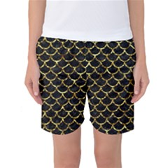 Scales1 Black Marble & Gold Foil Women s Basketball Shorts